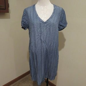 Anthropologie Cloth & Stone printed chambray dress
